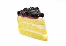 Blueberry cake on white background. Home made blueberry cake on white background Stock Photos