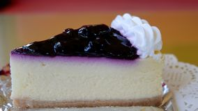 Blueberry cheese cake in coffee shop. Snack on vacation stock photo