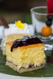 Blueberry cheese cake in dessert set Royalty Free Stock Photography