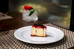 Blueberry cheese cake. On the white plate Stock Photo