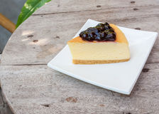 Blueberry cheese cake in white square dish Stock Image