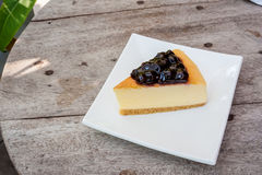 Blueberry cheese cake in white square dish Royalty Free Stock Photos