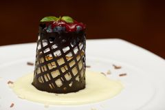 Blueberry cheesecake with chocolate lattice in sauce Stock Images