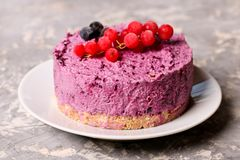 Blueberry cheesecake. Close up, horizontal Stock Photos