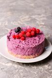 Blueberry cheesecake. Close up, vertical Stock Photo