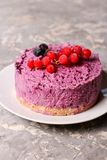 Blueberry cheesecake. Close up, vertical Royalty Free Stock Photography