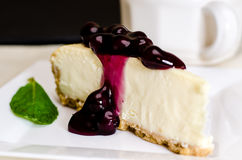Blueberry Cheesecake and Coffee Royalty Free Stock Images