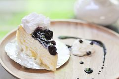 Blueberry cheesecake. Dish on the table Stock Photography