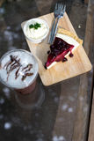 blueberry cheesecake with drink Royalty Free Stock Images