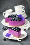 Blueberry cheesecake with fresh blueberries Royalty Free Stock Image