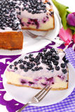 Blueberry cheesecake with mascarpone and fresh fruits Royalty Free Stock Photo