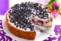 Blueberry cheesecake with mascarpone and fresh fruits Stock Images