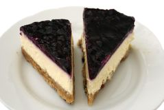 Blueberry cheesecake pieces Stock Image