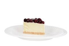 Blueberry cheesecake on a plate Royalty Free Stock Photography