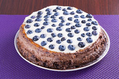 Blueberry cheesecake with white chocolate Royalty Free Stock Image