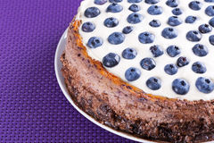 Blueberry cheesecake with white chocolate Royalty Free Stock Photos