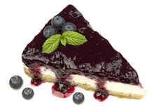 Blueberry cheesecake - ( Manhattan style ) isolated on white background, Royalty Free Stock Images