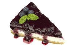 Blueberry cheesecake - ( Manhattan style ) isolated on white background, Stock Photo