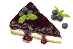 Blueberry cheesecake - ( Manhattan style ) isolated on white background, Royalty Free Stock Photography