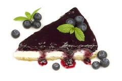 Blueberry cheesecake - ( Manhattan style )  on white background, Royalty Free Stock Photo
