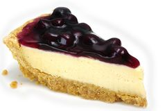 Blueberry Cheesecakevv. A delicious piece of Blueberry Cheesecake. Isolated on white Stock Photo