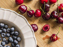 Blueberry and cherry Royalty Free Stock Photography