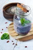 Blueberry, chia and goji vegan pudding Royalty Free Stock Photography