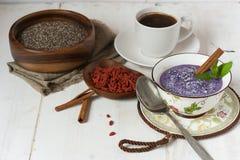 Blueberry, chia and goji vegan pudding Stock Photography