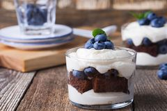 Blueberry chocolate cake trifle in glass royalty free stock image