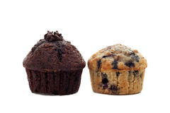 Blueberry and chocolate muffins on white Royalty Free Stock Photo