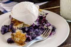 Blueberry Cobbler Baked in Cast Iron Skillet Royalty Free Stock Images