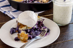 Blueberry Cobbler Baked in Cast Iron Skillet Royalty Free Stock Photography