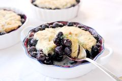 Blueberry cobbler spoonful Royalty Free Stock Photos