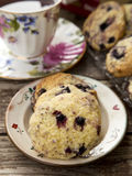 Blueberry cookies. And a cup of tea with berries Stock Image