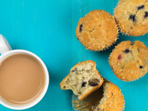 Blueberry and Cranberry Muffins With a Mug of Tea Royalty Free Stock Photography