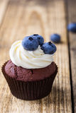 Blueberry and cream cheese  chocolate cupcake Royalty Free Stock Photos
