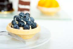 Blueberry cream cupcake Royalty Free Stock Photography