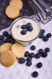 Blueberry and cream yogurt Stock Photo