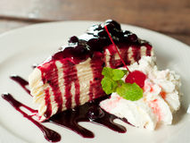 Blueberry crepe cake. In the cafe, homemade style stock image
