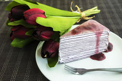 Blueberry Crepe Cake Royalty Free Stock Photos