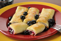 Blueberry crepes Royalty Free Stock Photos