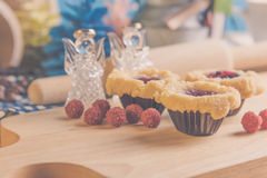 blueberry Crumb Cake on wood table Royalty Free Stock Photo