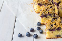 Blueberry Crumble Cake with Copy Space Horizontal Royalty Free Stock Image