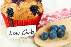 Blueberry cupcake on diet: sweets with low carb cooking Royalty Free Stock Photography
