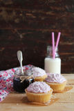 Blueberry cupcakes with buttercream frosting Stock Photography