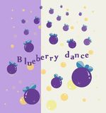 Blueberry dance with bubble. Illustration of violet blueberry with many bubble  yellow and orange colors. It`s use as print of t-shirt or background image Royalty Free Stock Photos