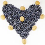 Blueberry Design. Blueberries and walnuts in the shell arranged in the shape of love Stock Images