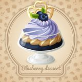Blueberry dessert badge Stock Photography