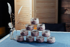 Blueberry dessert and fresh berries in a glass jar Royalty Free Stock Photo