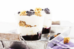 Blueberry dessert in front of other. Blueberry yoghurt dessert in front of other on a metal tray royalty free stock image